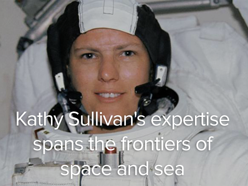 Kathy Sullivan in space suit